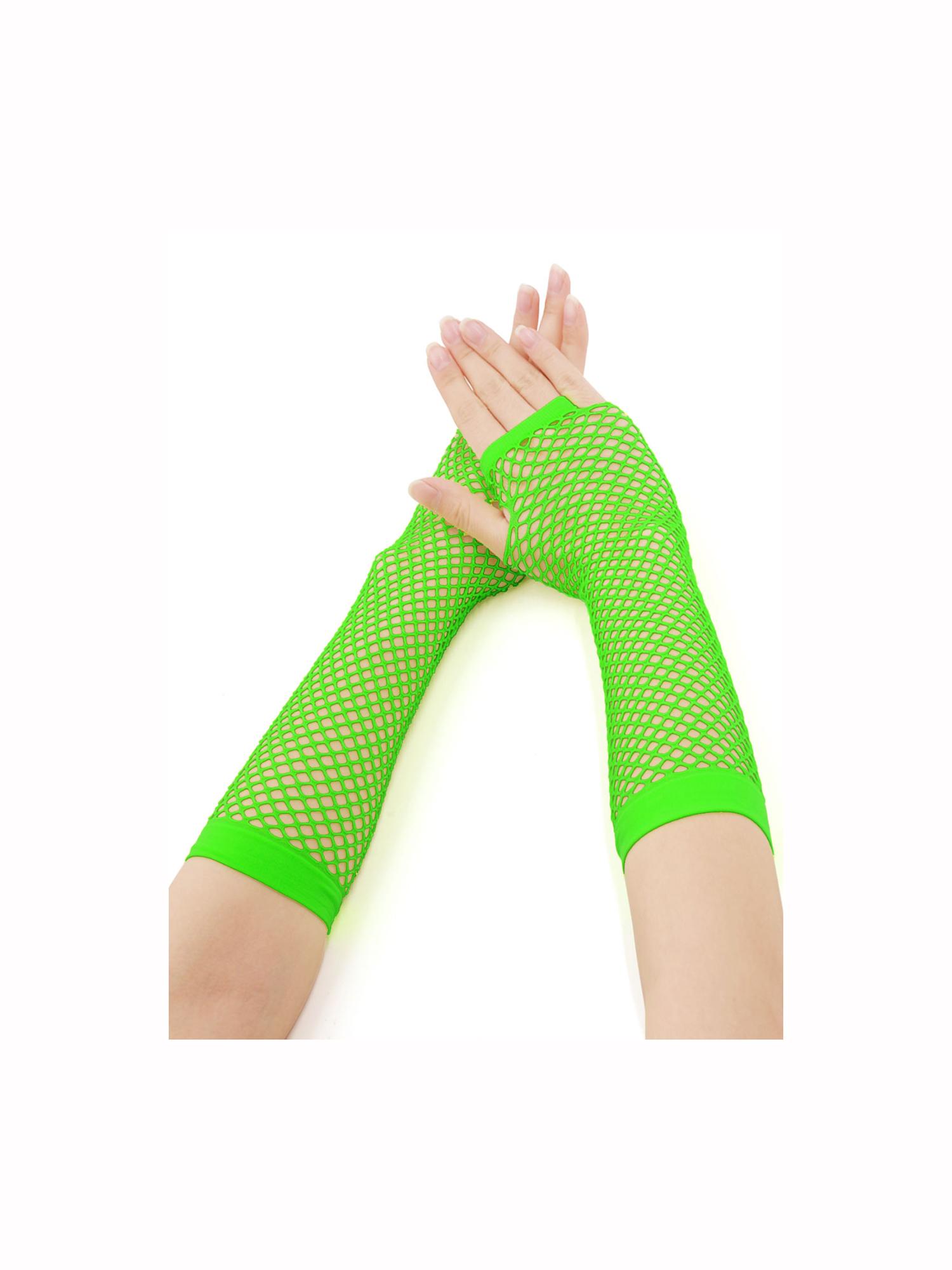 Women's Elbow Length Fingerless Fishnet Gloves 2 Pairs