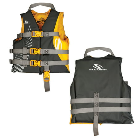 Stearns Child Antimicrobial Nylon Life Jacket - 30lbs to 50lbs, Gold/Gray
