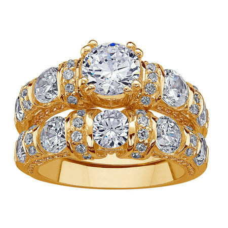 14kt Gold over Sterling Silver Round CZ Wedding Ring Set
