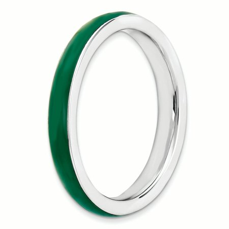 Sterling Silver Stackable Expressions Green Enameled 3.25mm Ring Size 7 - image 3 of 3