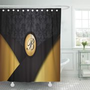 ATABIE Damask Monogram Black and Gold Classy Elegant Hip Cool Shower Curtain 66x72 inch