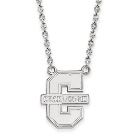 14k White Gold LogoArt Official Licensed Collegiate 18in College of Charleston (CofC) Large Pendant w/Necklace College Seal Jewelry Pendant