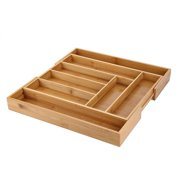 Lv. life Expandable Bamboo Cutlery Storage Tidy Drawer Kitchen Organizer Compartment with Knife and Fork, Cutlery Tray Holder,Cutlery Storage