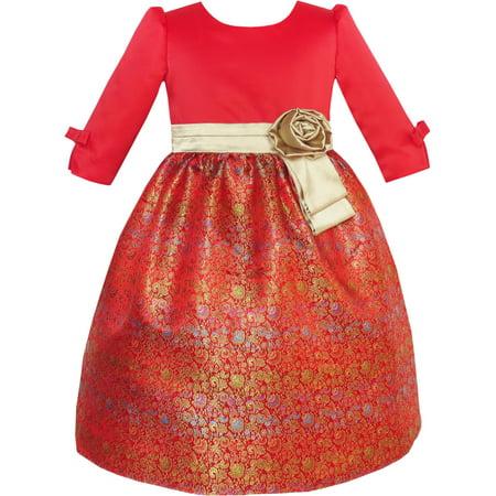 de188c1f1b Sunny Fashion - Girls Dress Fit   Flare Glitter Jacquard Christmas Holiday  10 - Walmart.com