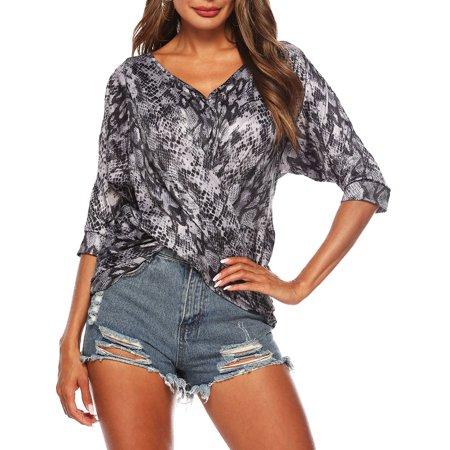 STARVNC Women V Neck Cutout Half Sleeve Ruched Twist Snake Skin Casual Shirt (Womens Skins Sale)