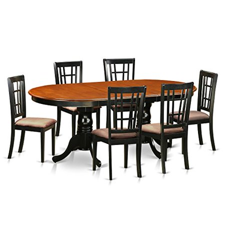 Plni7 bch c 7 pc dining room set dining table with 6 solid for Dining room sets 7 pc