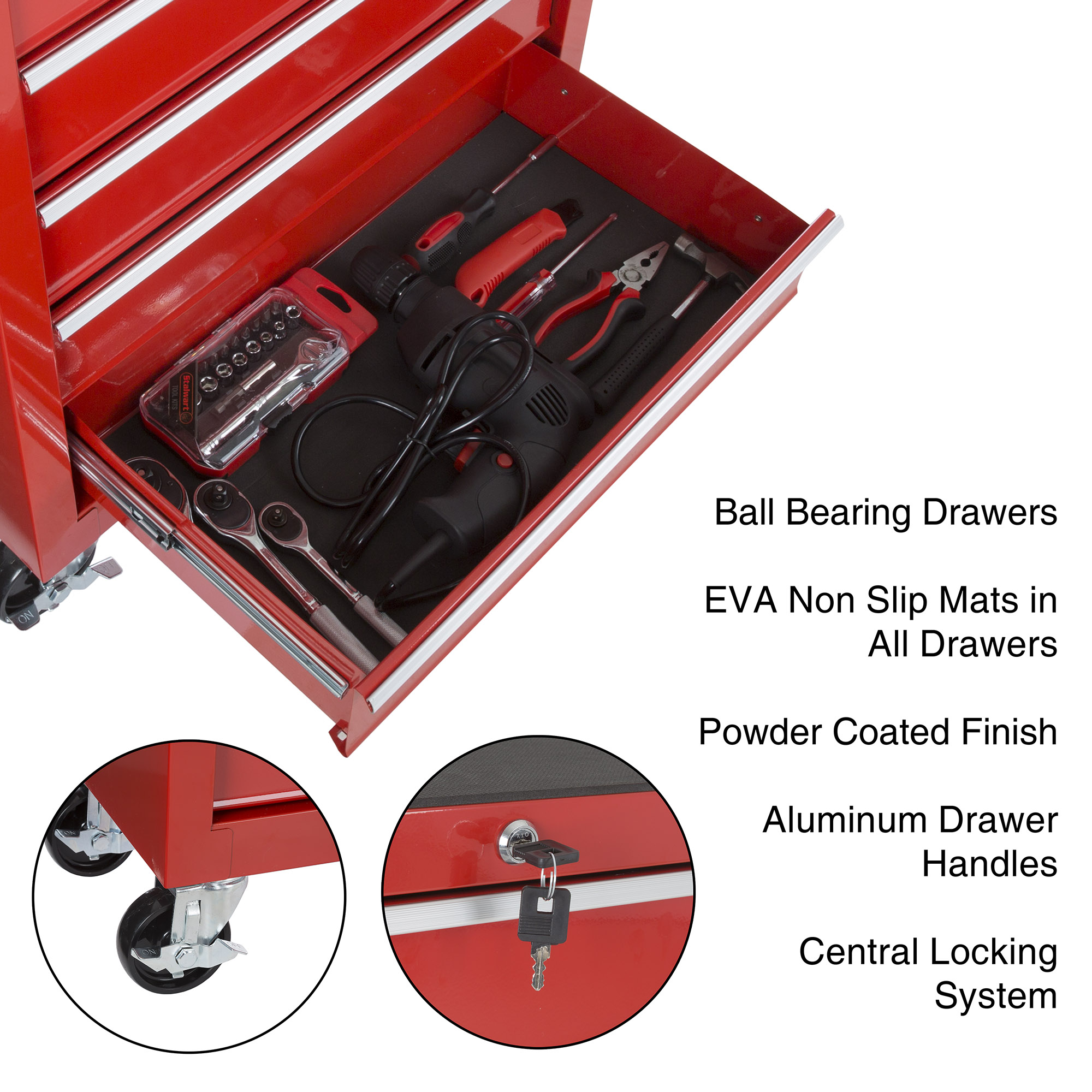 Rolling Tool Box Cabinet 5 Drawer Portable Storage Chest Tools