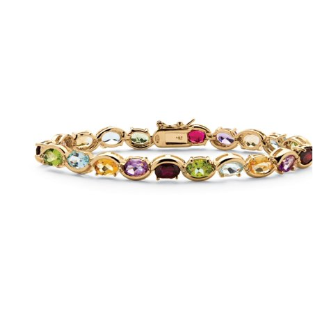 (19 TCW Oval-Cut Genuine Gemstone and Diamond Accent Tennis Bracelet in 18k Yellow Gold over Sterling Silver)
