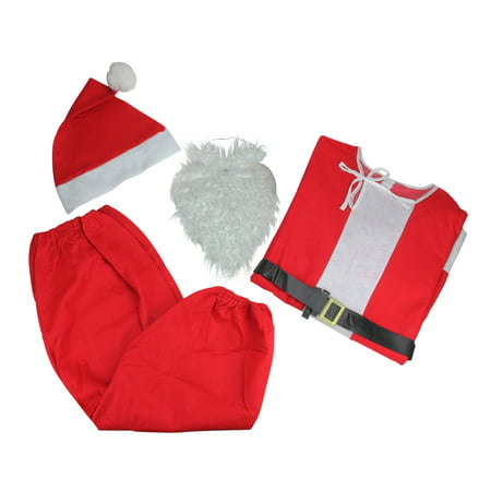 6-Piece Novelty Santa Claus Christmas Suit Costume - One Size Fits Most Adults
