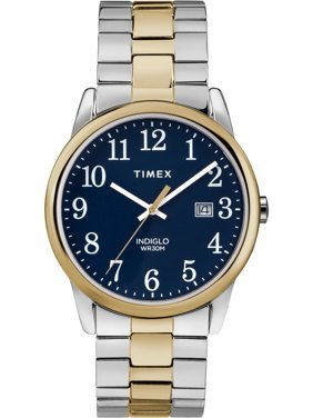 Timex Men's Easy Reader Two-Tone/Blue Watch, Stainless Steel Expansion Band
