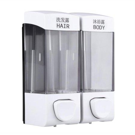 Spptty Distributeur de savon, Distributeur de shampoing, 2x350ml Salle de bains Fixé au mur Boîte à shampooing pour assainisseur Distributeur de lotion Désinfectant Pompe liquide - image 6 de 7