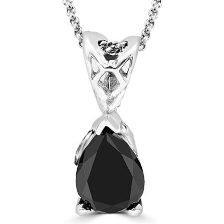 Majesty Diamonds MD160036 0.8 CT Solitaire Pear Cut BlacK Diamond Pendant Necklace in 14K