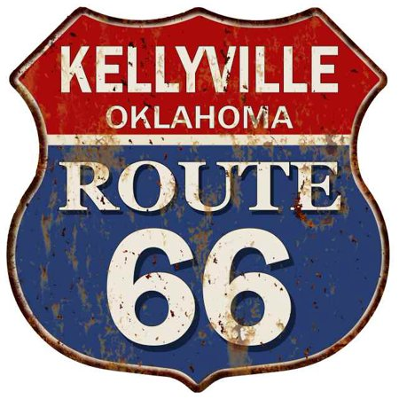 Wall Route 66 Metal Sign (KELLYVILLE, OKLAHOMA Route 66 Shield Metal Sign Man Cave Garage 211110013195 )