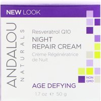 Andalou Naturals Night Repair Cream, Resveratrol Q10, Age-Defying, 1.7 oz (50 g)