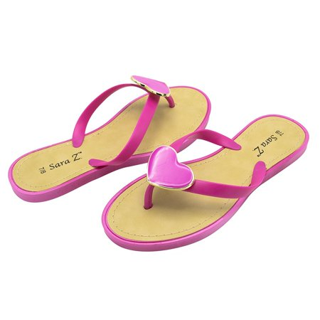 Women Jelly - Sara Z Womens Big Hearted Jelly Thong Flip Flop Sandal Size 5/6 Fuchsia