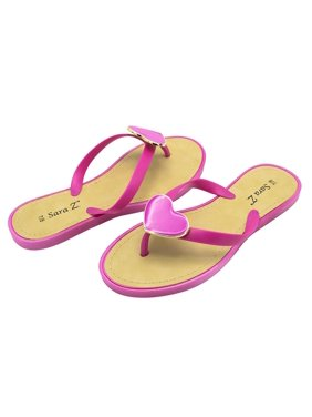 425846f3613c Product Image Sara Z Womens Big Hearted Jelly Thong Flip Flop Sandal Size  5 6 Fuchsia