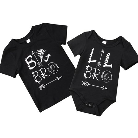 Newborn Kids Baby Boy Little Brother Romper Bodysuit Big Brother Cotton T-shirts
