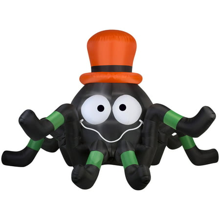 6' Airblown Spider with Orange Hat Halloween Inflatable](Inflatable Halloween Spider)