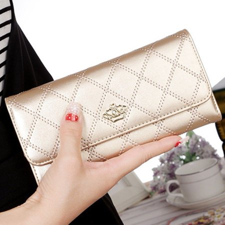 New Fashion Women Purse Wallet Long Card Holder Clutch Leather PU Wallets Crown - image 2 of 5