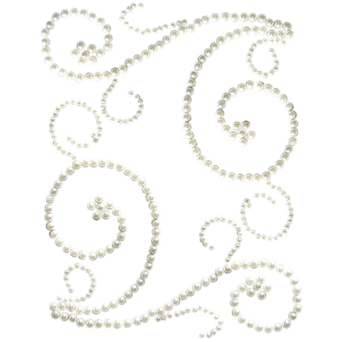 Want2Scrap Self-Adhesive Swirls Bling-White Pearls