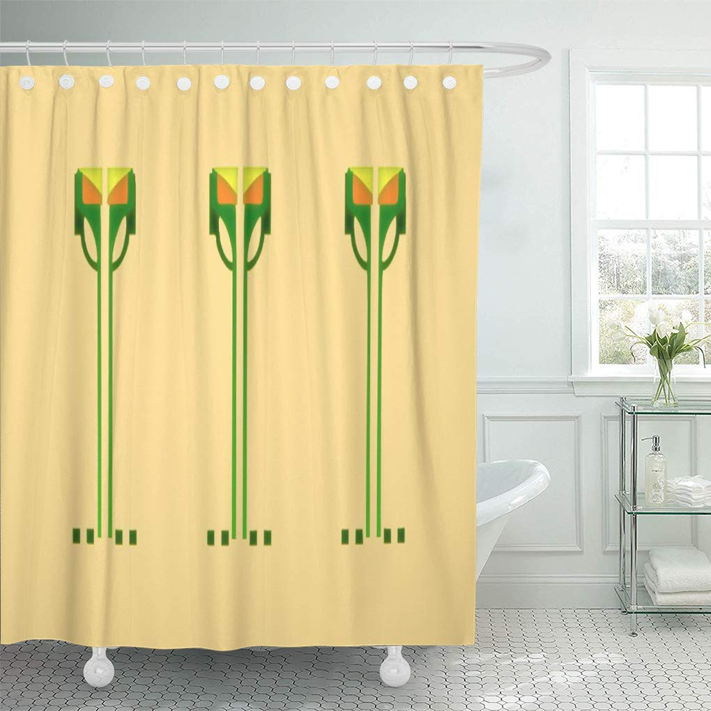 Cynlon Craftsman Dard Hunter Stencil Arts Crafts Movement Bathroom Decor Bath Shower Curtain 60x72 Inch Walmart Com Walmart Com