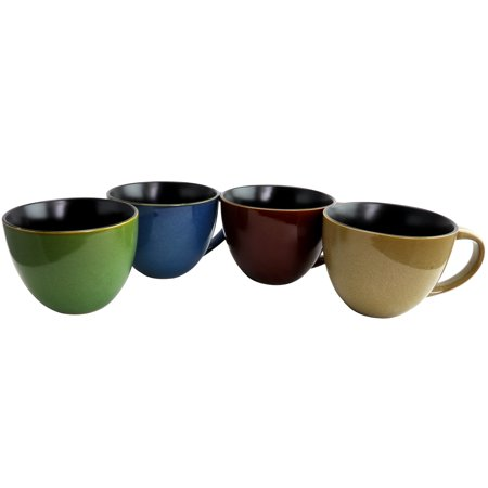 - Gibson Home Earthly Jewels 4 Piece 18.5 oz Latte Mug Set in 4 Assorted Colors