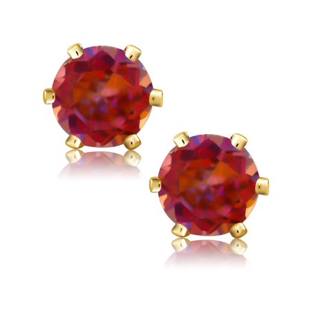 1.10 Ct Round Cut Gold Plated 5mm Mystic Twilight Topaz Stud Earrings - image 2 of 4
