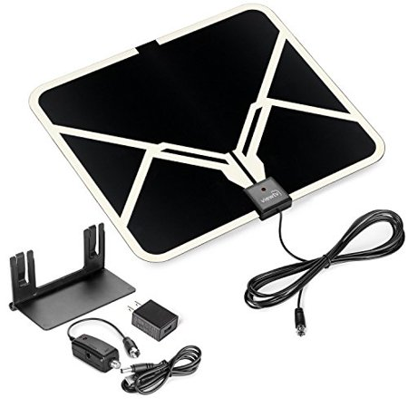 Viewtv Flat Hd Digital Indoor Amplified Tv Antenna   65 Miles Range   Detachable Amplifier Signal Booster   Antenna Stand   12Ft Coax Cable   Black