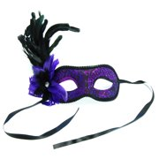 Paris Eye Costume Mask With Feather Purple/Black