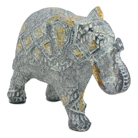 Ebros Silver and Gold Patterned Elephant Statue 6.5