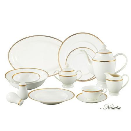 Lorren Home Trends Bone China 57 Piece Dinnerware Set  Service For 8