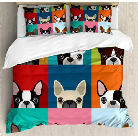 Boston Terrier Queen Size Duvet Cover Set, Minimalist Colorful Assortment of Terrier Portraits Multiple Variations, Decorative 3 Piece Bedding Set with 2 Pillow Shams, Multicolor, by Ambesonne