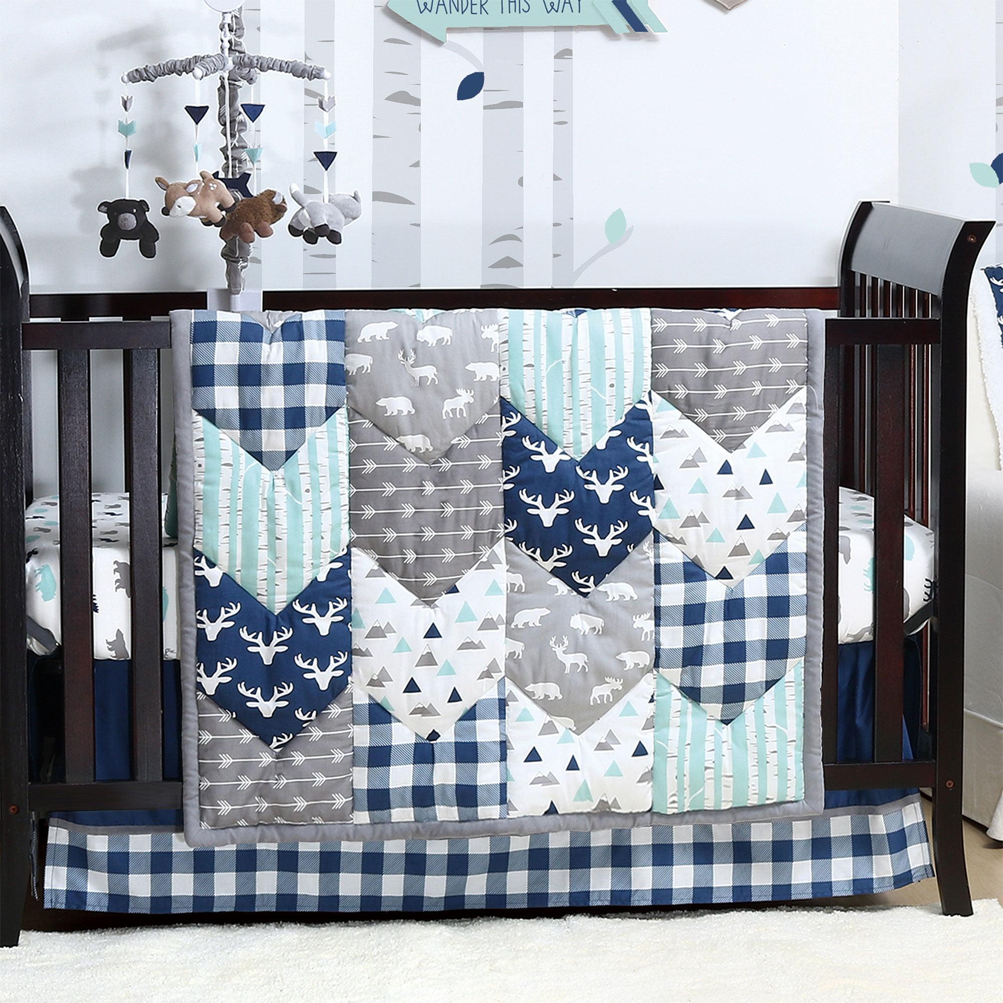 Woodland Trail 5 Piece Baby Boy Crib Bedding Set Forest Animal Theme by The Peanut Shell
