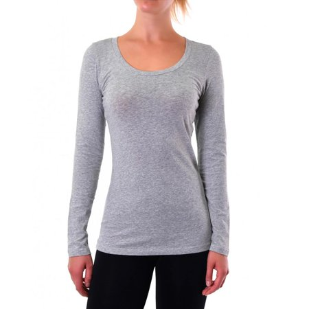 Basic Grey Long Sleeve Top T-Shirt Stretch Tight Fit Crew Neck Junior Women