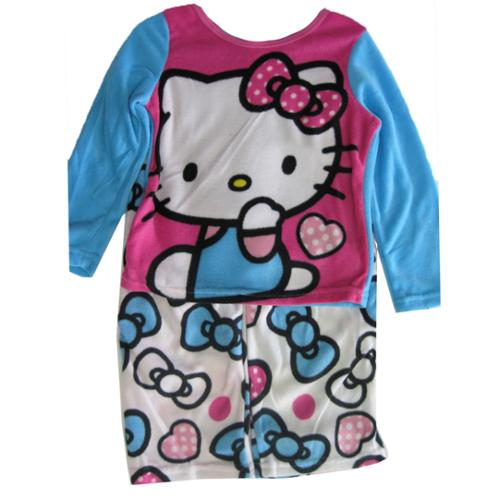 Hello Kitty Girls Blue White Kitty Image Bow Print 2 Pc Pajama Set 8-10