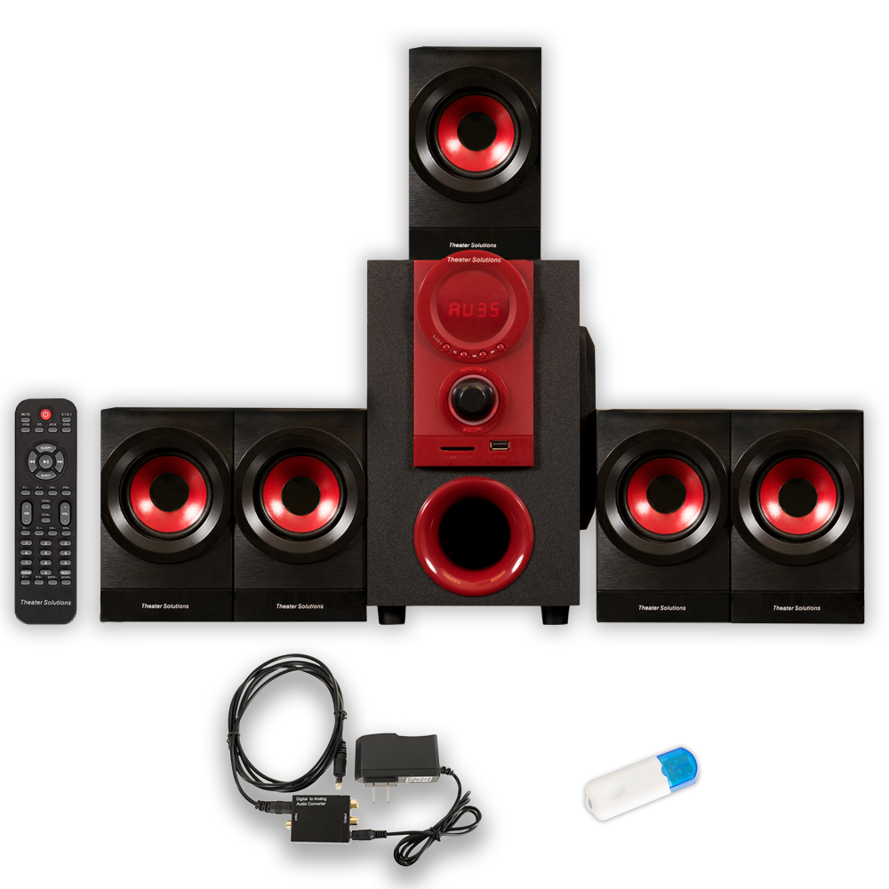 Theater Solutions TS521 Home Theater 5.1 Speaker System with USB Bluetooth and Optical Input