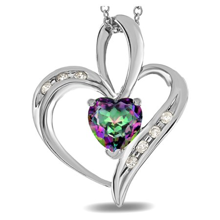 Star K Heart Shape 6mm Mystic Rainbow Topaz Pendant Necklace