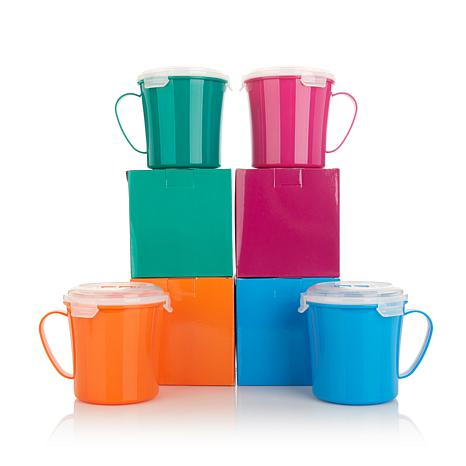 Bell Shape Mug (Bell & Howell Set of 4 Microwave Mugs with Vented Lids - Assorted Colors)