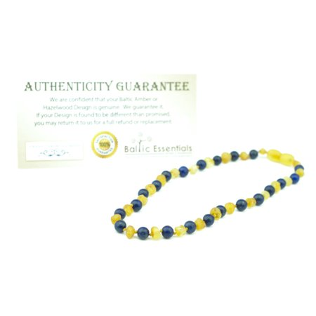 Adhd Anxiety Teething Raw Unpolished Milk Lapis Lazuli Baltic Amber Necklace For Baby  Infant  Toddler  Big Kid