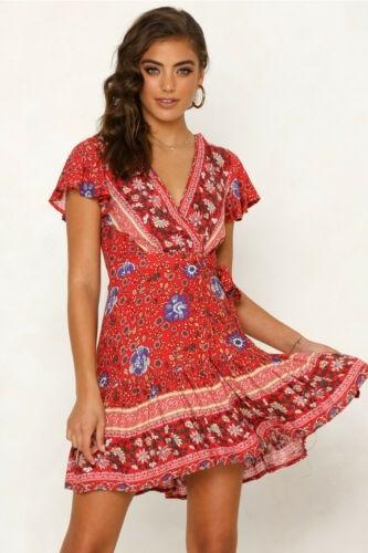 Women Short Sleeve Wrap Boho Mini Dress Summer Sundress Holiday Beach LA