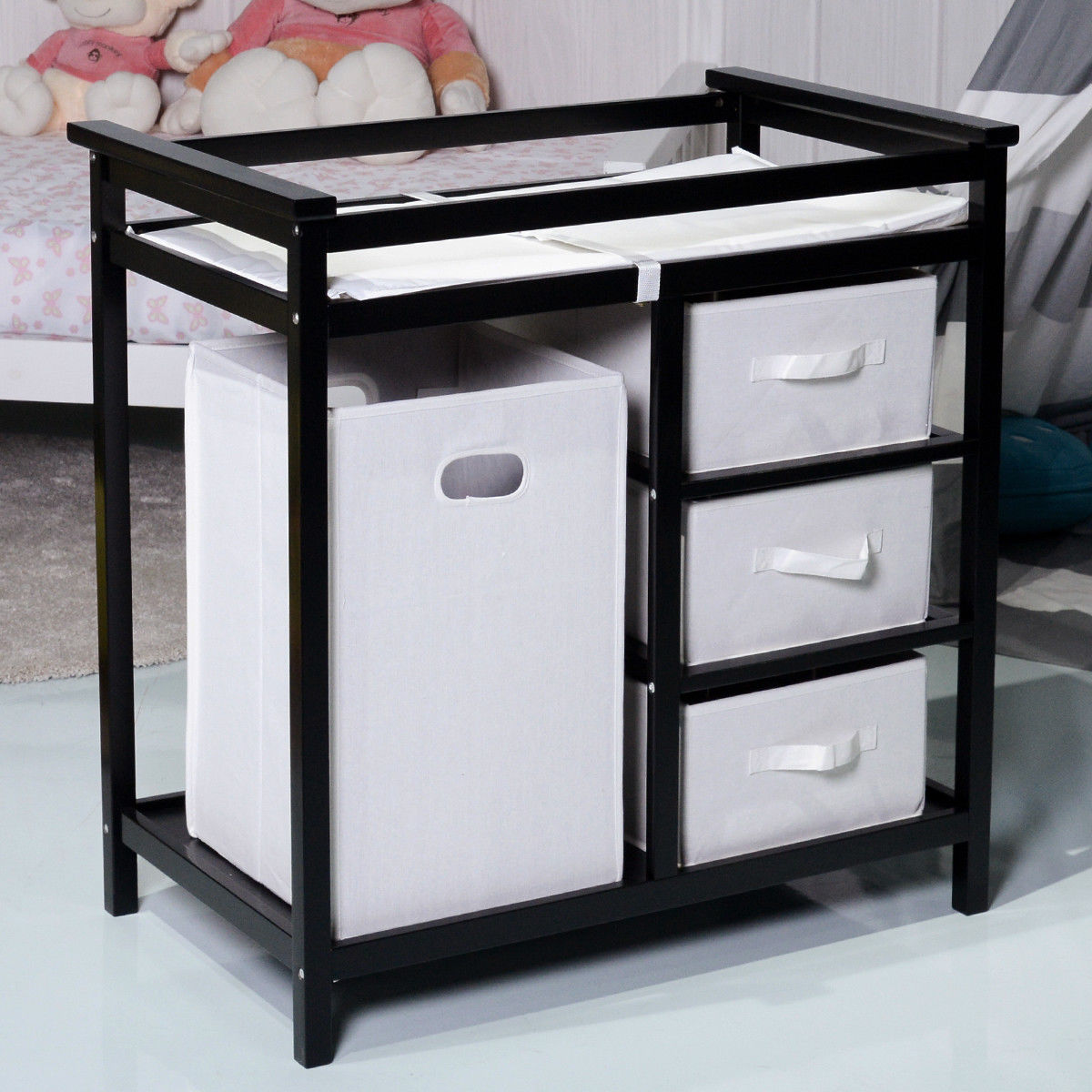Costway Black Infant Baby Changing Table w/3 Basket Hamper Diaper Storage Nursery