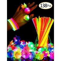 Glow Sticks Bulk Light Up Pump Rings Party Favor Glow in The Dark Toys 138 pcs