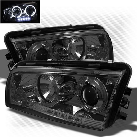 Smoked 2006-2010 Dodge Charger Twin Halo LED Projector Headlights Smoke Head Lights Pair Left+Right 2007 2008 2009