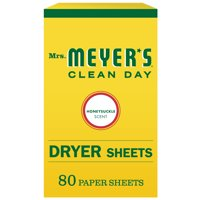 Mrs. Meyer?s Clean Day Dryer Sheets, Honeysuckle Scent, (Pack of 80)
