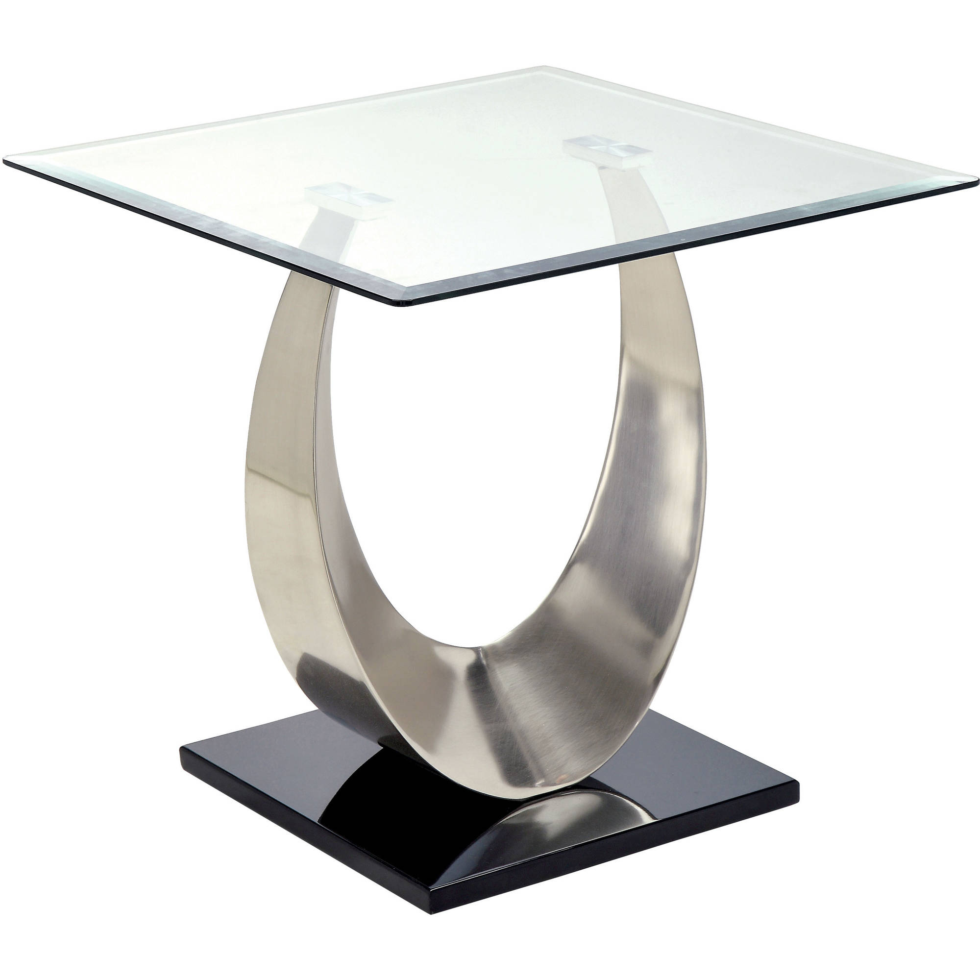 Furniture of America Nessa Contemporary End Table, Black and Satin