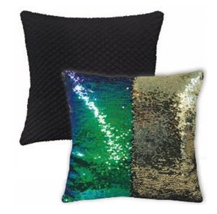 "Mainstays Holographic Peacock to Shiny Gold Reversible 17"" x 17"" Sparkle Pillow"