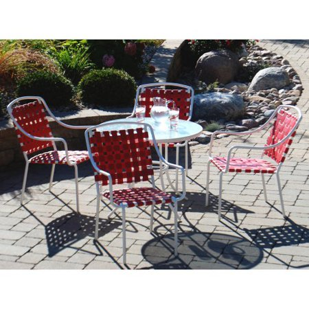 Harper Strap 5 Piece Patio Dining Set Red Box 1 Of 2