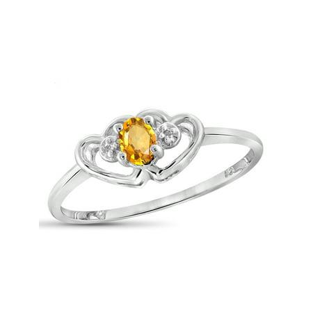 Citrine Topaz Gemstone - 0.18 Carat T.G.W. Citrine Gemstone and White Diamond Accent Ring