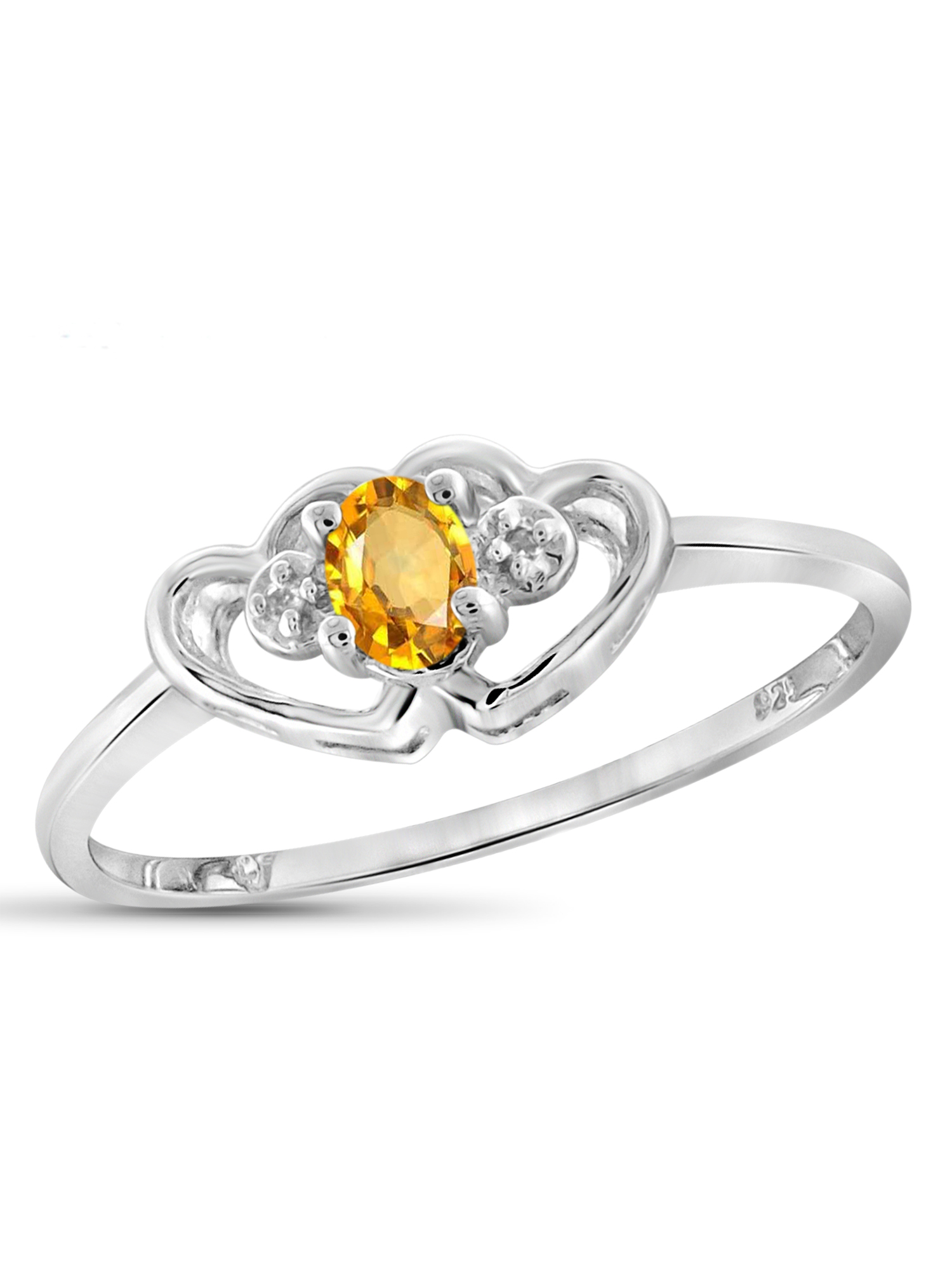 JewelersClub 0.18 Carat T.G.W. Citrine Gemstone and White Diamond Accent Ring