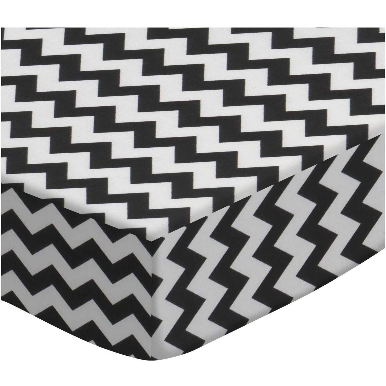 SheetWorld Fitted Crib / Toddler Sheet - Black Chevron Zigzag
